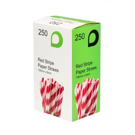 Red Stripe Paper Straws [250 pack]