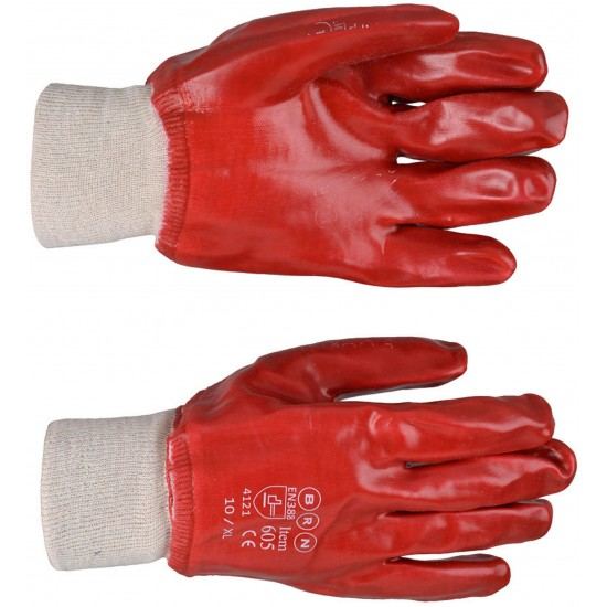 Red PVC Knitted Wrist Gloves, Size 10/XL