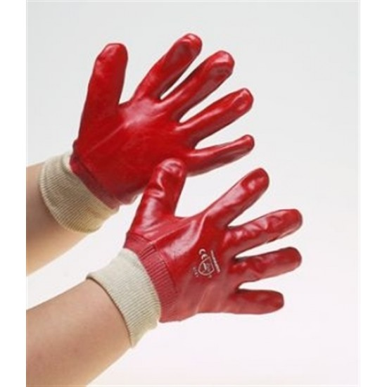 Click Red PVC Knitted Wrist Gloves