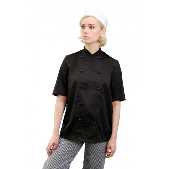 AFD Chef Jacket Black Stud Button
