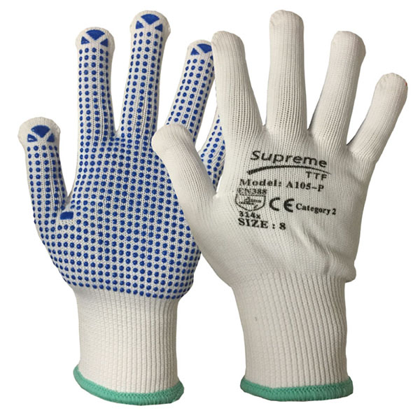 PVC Polka Dot Picker Packer Gloves