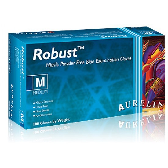 Robust 9 Blue Nitrile Powder Free Disposable Gloves (100 pack)